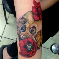 Skull and medicinal flowers Tattoo by Mikeashworthtattoos