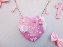 Kawaii Desu -Pop Heart Sparkle Necklace by societyisfucked