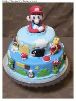 Old School Mario Cake by dragonflydoces