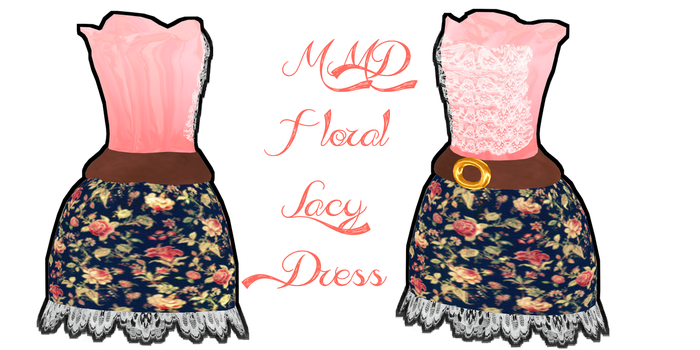 MMD Floral Lacy Dress by Tehrainbowllama