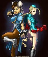 Chun-Li and Cammy by WaltLindsay