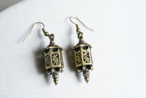 Antique Bronze Lantern Earrings by MonsterBrandCrafts