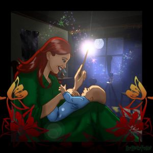 imagens do Deviantart Lily_Potter_and_baby_Harry_by_Harry_Potter_Spain