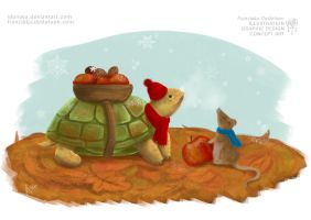 Otto, Fredi and the first snow of winter by Idunaya