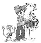 Boy and monkey by tombancroft