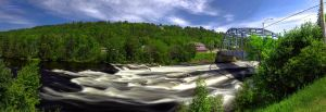 Grand-Remous' Waterfalls Pano by digswolf
