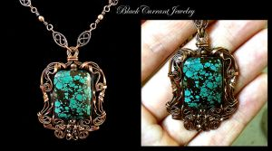 Turquoise and Copper Pendant by blackcurrantjewelry
