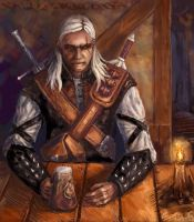 Geralt at Hairy Bear Inn by ravenanna