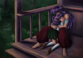 Inuyasha and Kagome - Collaboration with Cati by SchneeAmsel