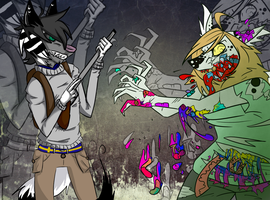 ZOMBIE AND HUNTER - collab by UglyTree