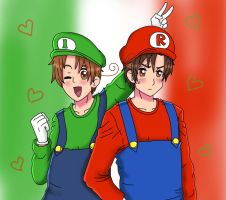 Super Italy and Romano by sozine2