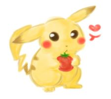 Pikachu loves tomatos by Millenium-Lint