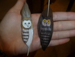 feather painting: owls by luciferasa
