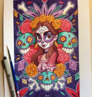 Day of the Dead Painting by chrissie-zullo