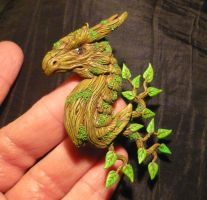 Greenwoods Guardian - handmade Dragon Pendant by Ganjamira
