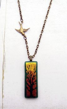 Golden Forest Fused Glass Necklace by FusedElegance