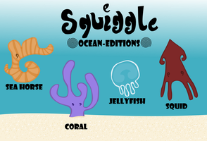 Squiggle Ocean animals by Falcfire