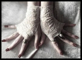 Blossom Lace Fingerless Gloves by ZenAndCoffee