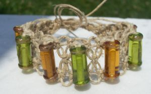 glass hemp bracelet by HempLady4u