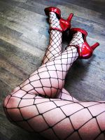 Red Heels Fishnets 1 by exoticart69