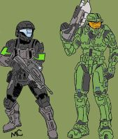 ODST with Master Chief -color- by CrashyBandicoot