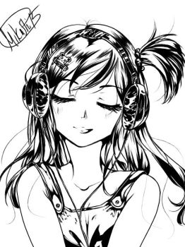 Black + White Commission Sample Head Only by Mikashi
