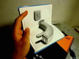 3D drawing drawn on notebook by NAGAIHIDEYUKI