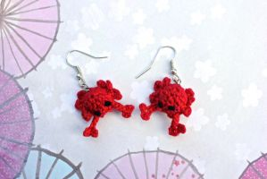Kawaii Miniature Amigurumi Crab Earrings by SkySinger92
