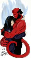 The Hug--Liz and Hellboy by JennHolton