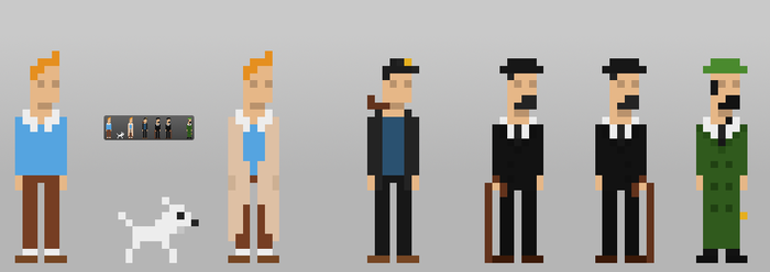 8bits Tintin and Friends by le6barbare