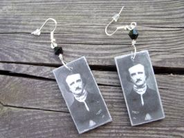 Edgar Allan Poe earrings by kickthebucket
