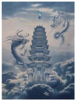 2 dragons pagoda by lituhayu
