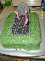 halloween barbie grave cake by sillylittlefaery1982