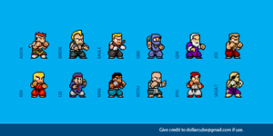 Street Fighter 1 Sprites by dollarcube