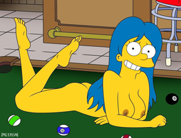 Marge Simpson nude on a pool table by likdetoes