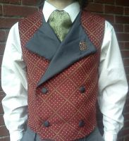 Burgundy and Gold Steampunk Vest by EngineerandTheGypsy