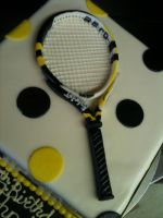 Tennis Racket Cake close up by Spudnuts