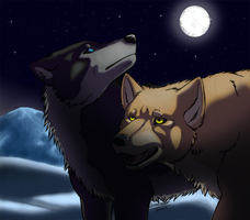 Moonlit Wolves by Demonic-Pokeyfruit