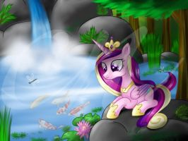 Cadance and the Koi Pond (old art) by Sunshineshiny