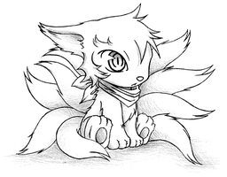 Boy Gumiho Chibi Ninetails Form by racoonloveglee