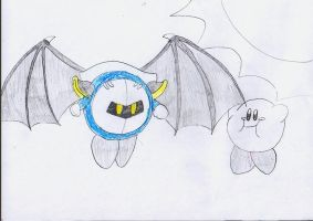 Meta Knight and Kirby flying by JenBlackWolf