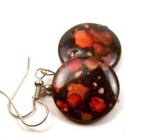 Orange and Black Mother of Pearl Earrings by annjepsen