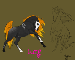 Noelle and unnamed horse color WIP by xTrippingOnYoux