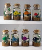 Itty Bitty Fishy Bottle Charm -- Taste the Rainbow by keixell