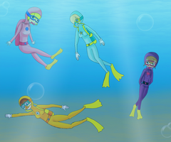 4 aqua princesses in the sea by ZeFrenchM