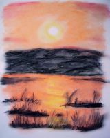 Oil Pastel Sketch #3: Under a blood red sky by CpointSpoint