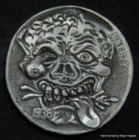 Zombie Coin Carving by Shaun Hughes by shaun750