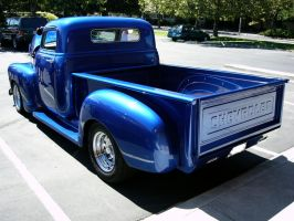 1954 Chevrolet blue pickup rear quarter butt view by RoadTripDog