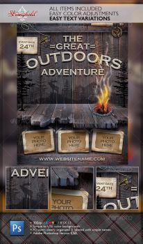 VINTAGE OUTDOOR CAMPING ADVENTURE FLYER by STRONGHOLDSTUDIOS