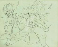 Torock True SSJ vs Letty Ultemate SSJ4 Sketch by DavidsKovach